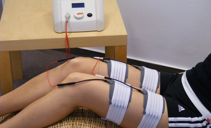 Electronic Muscle Stimulation as part of a physical therapy program
